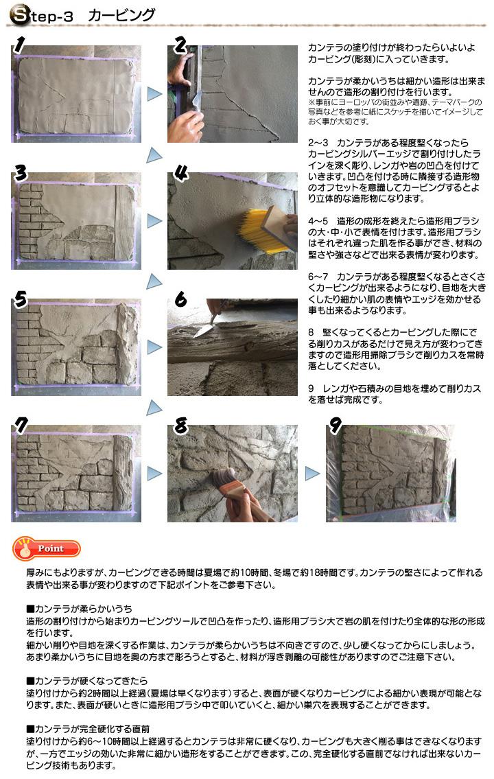壁面へのモルタル造形・スタンプ仕上げ